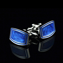Bridegroom Wedding Evening Party Business Men French Shirt Cuff Links Royal Blue Enamel Cufflinks Silvery Cufflink With Gift Bag circle milestone steel varnish baking cufflinks for men silvery blue pair