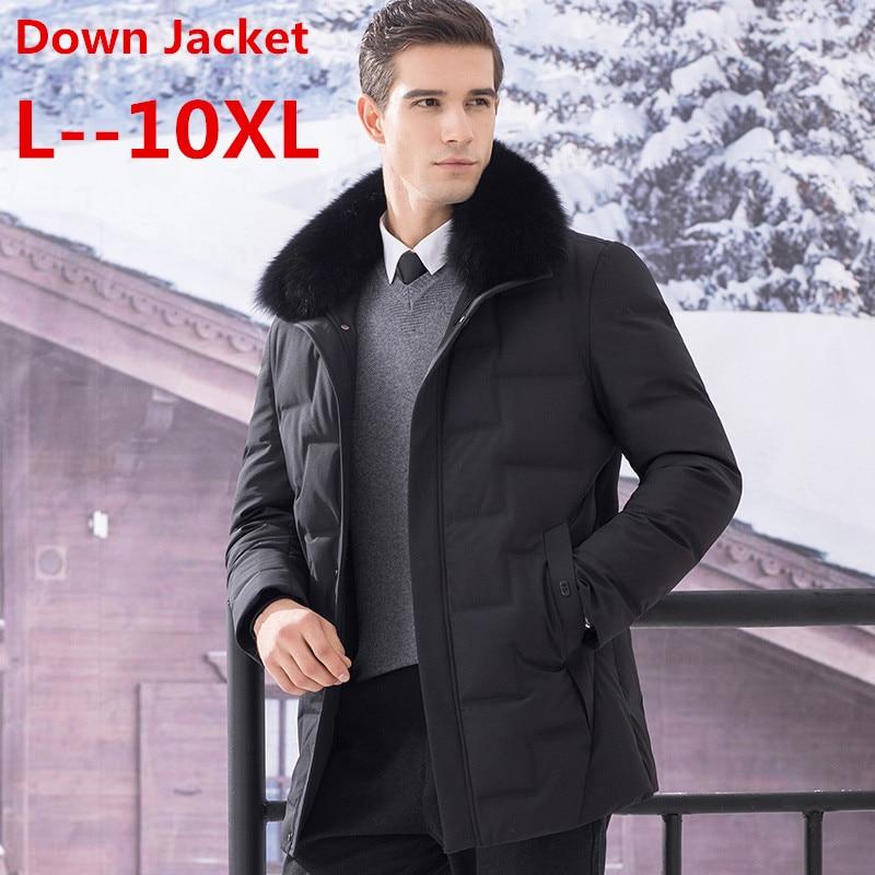 Big 10XL 8XL 6XL Fur Collar Men's Down Jacket Brand Winter Jacket Men High Quality Hat Windproof Coat Men White Duck Down Jacket