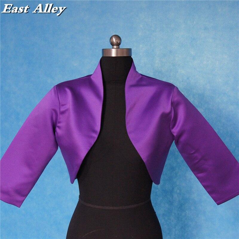 High Quality Purple Satin Jacket 3/4 Sleeves Wedding Bridal Bolero Shrug Wrap