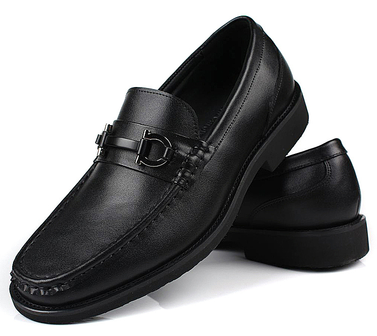 Mens Leather Black casual Dress Shoes