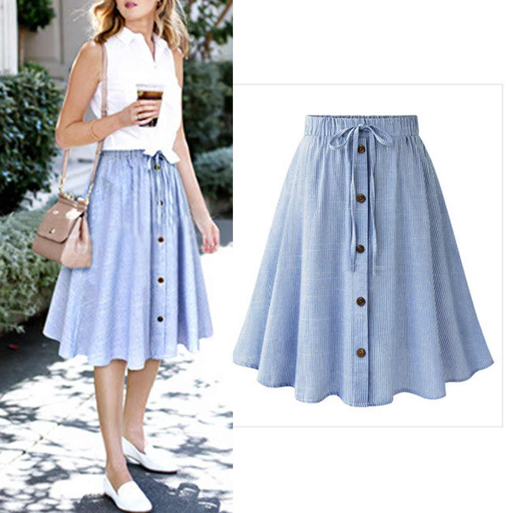 Skirt Women High Waist Stripe Single-breasted soft comfortable Lace Plain Skater Flared Skirts Mujer