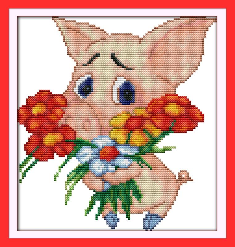 Das Schwein Präsentieren Einen Strauß Kreuzstich Kit 14ct 11ct