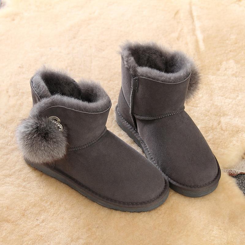 Avec Décoration Confortable Chaussures Chaud Bottes D'hiver Casual Blue deep Poils Femmes Neige Mouton Boule De Amortisseur Peau En Gray Chaîne black Laine g7XXAqw