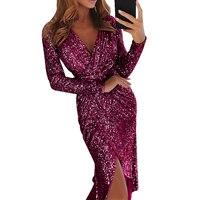 Women Sparkly Bodycon Dress Sexy Split Midi Party Dress Autumn Long Sleeve Sheath Sequin Dress Clubwear Night Dresses
