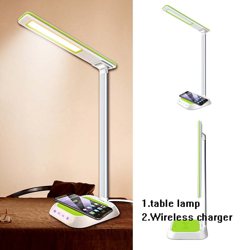 Multifunction Table Desk LED Lamp Qi Wireless Charging Pad Cell Phone Charger Holder Stand Foldable Desktop Light for iPhone X8
