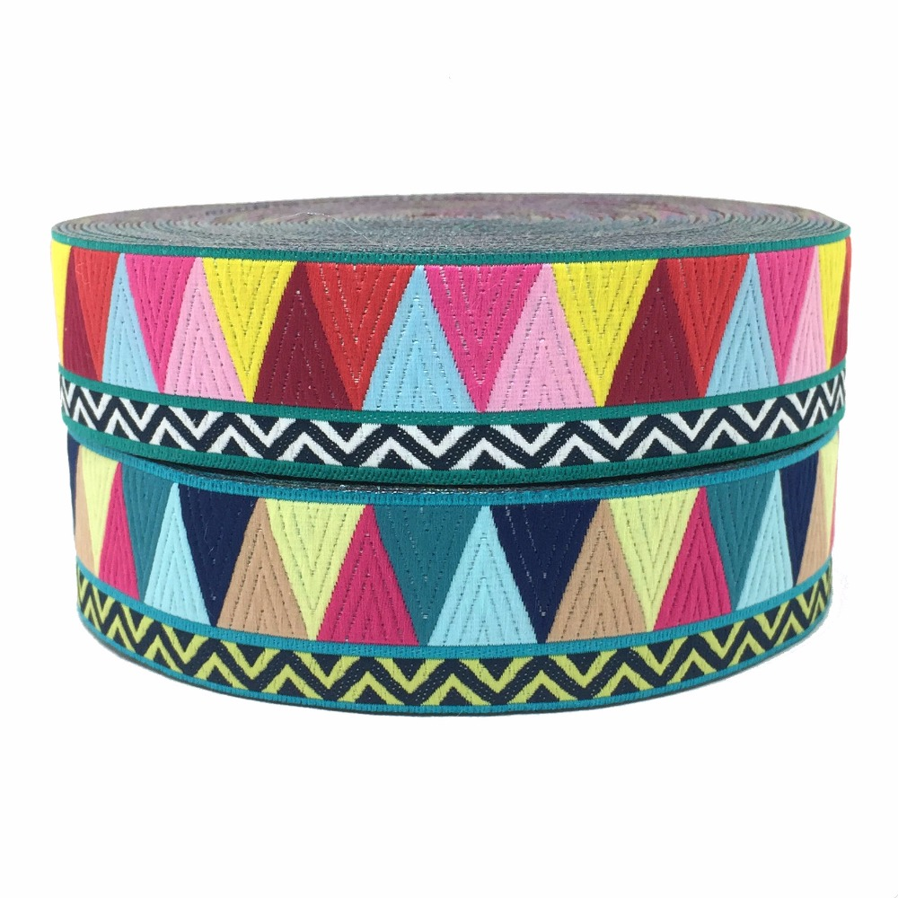 "ZERZEEMOOY 1"" 25MM 5YARD 2017 NEW Colour Triangle wave Woven Jacquard Ribbon KTZD17032603"