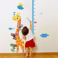 Cartoon Giraffe Height Measure Wall Sticker For Kids Rooms Nursery 90*140cm Home Decor Growth Chart Mural Child Height Art Decal
