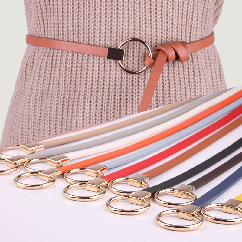 Hot Sale Female Red Brown Black White Yellow Waist   Belts   2019 Fashion Thin PU Leather Wedding Party Women Dress Strap Waistbands