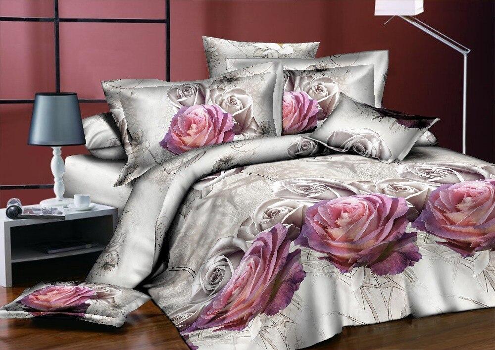 BEST. WENSD ensemble de literie classique roi reine pleine taille gris bleu fleur Rose linge de lit housse de couette ensemble AB housse de couette côté 2018 lit - 2