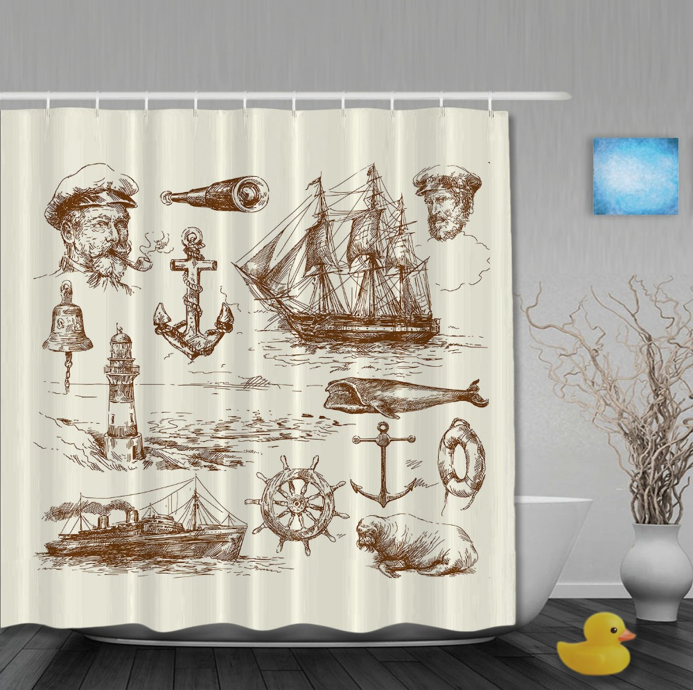 Pirate shower curtain - Custom Pirates Style Sketch Shower Curtains Light Yellow Waterproof High Quality Home Decration With Hooks Bathroom