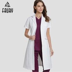Корейский стиль, белое пальто, одежда для доктора, мужской женский костюм для медсестер, летний костюм с короткими рукавами для салона красо...