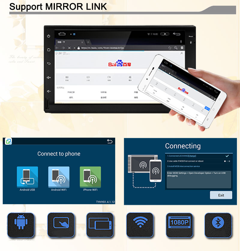 Ownice C200 Quad Core Android 5.1 Universal 2din Car Radio DVD Player GPS Navigation Bluetooth Support DVR DTV DDR 2G 16GB