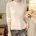 women spring autumn vintage white lace blouse 2016 fashion sexy long sleeve stand collar crochet tops slim shirt clothes A810