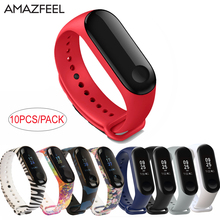 AMAZFEEL 10Pcs/Pack Mi Band 3 Strap Colorful Silicone Wrist Strap Replacement for Xiaomi Mi Band 3 Bracelet Miband 3 NFC Straps