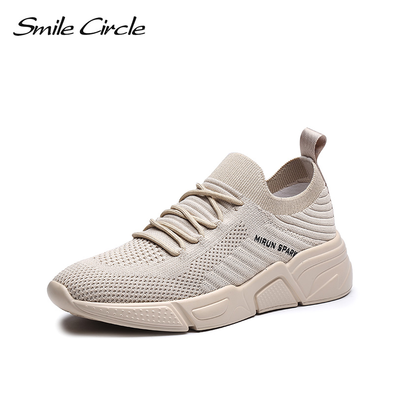 Smile Circle Women Sneakers knitting Shoes 2019 spring Flat Platform Ladies shoes Breathable Lightweight Thick bottom