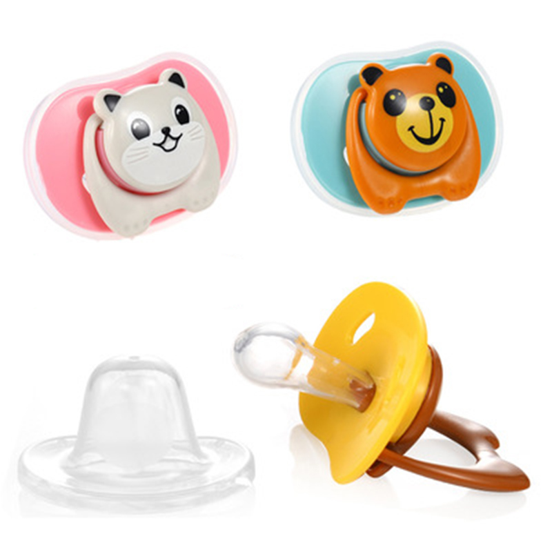 Cute Baby Pacifier Nipple Newborn Kids Boys Girls Round Thumb Type Baby Food Grade PP Silicone Dummy Soother Feeding Accessories