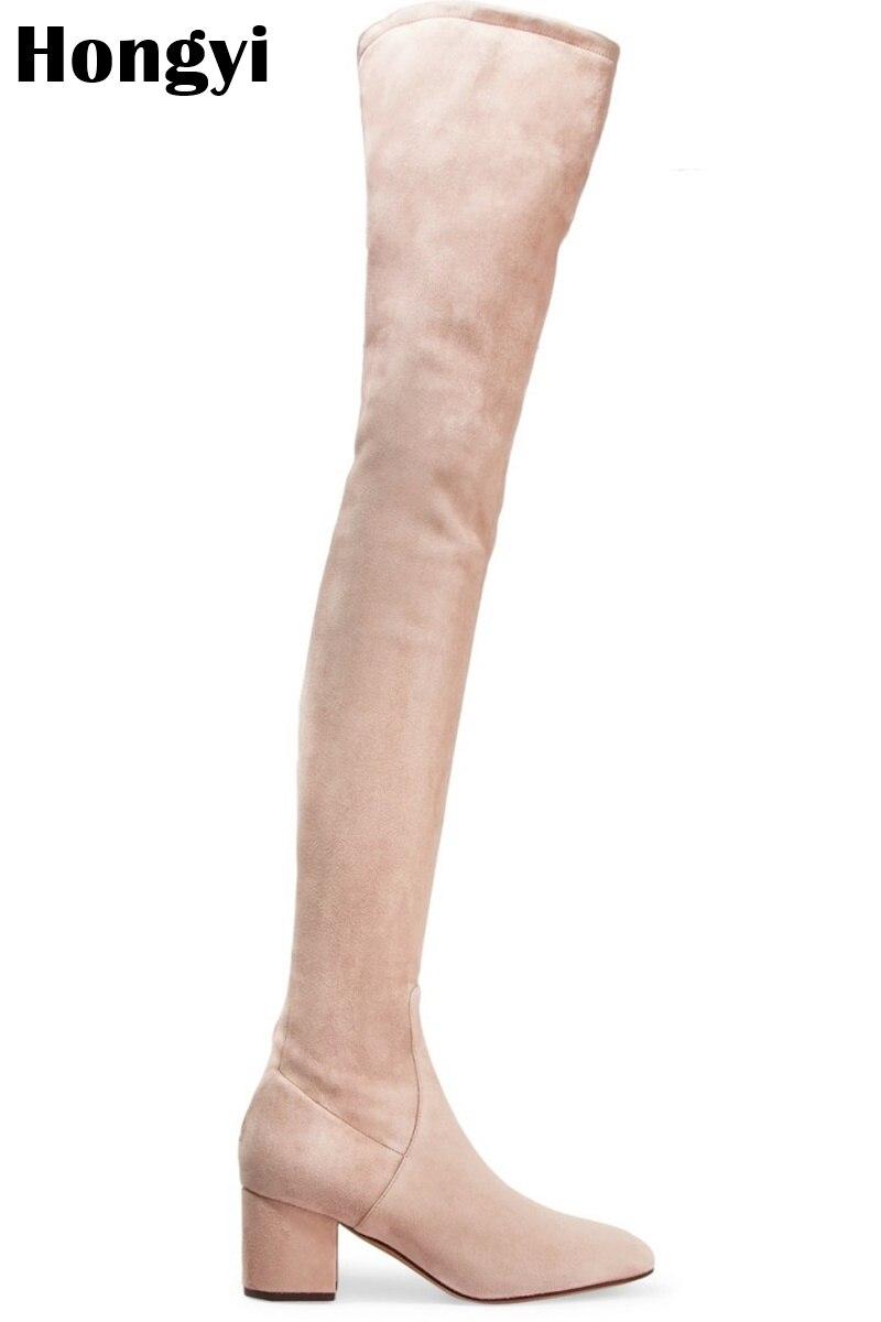 Gris Noir À Confortables Le Haute Beige Color De Quare Printemps Sur Mode Bas Talons Showed Bottes As Color Genou Femmes Qualité Rouge as Hauts Chaussures Hiver BedxoC