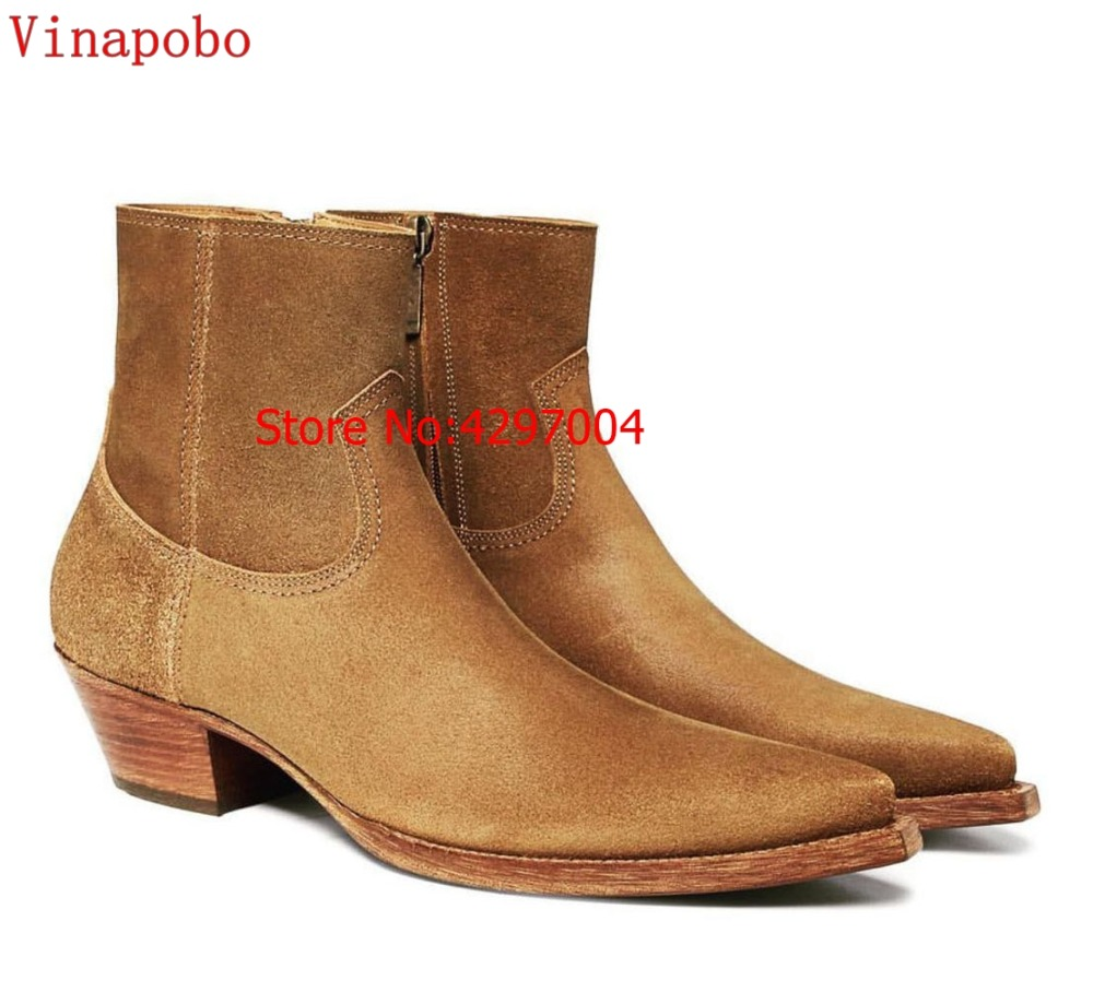 Vinapobo Vintage Men Chelsea Boots Genuine Leather Suede Rome Style customized handmade Man Ankle Male Casual Shoes Sapato