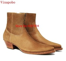 Vinapobo Vintage Men Chelsea Boots Genuine Leather Suede Rome Style customized handmade Man Ankle Boots Male Casual Shoes Sapato цена 2017