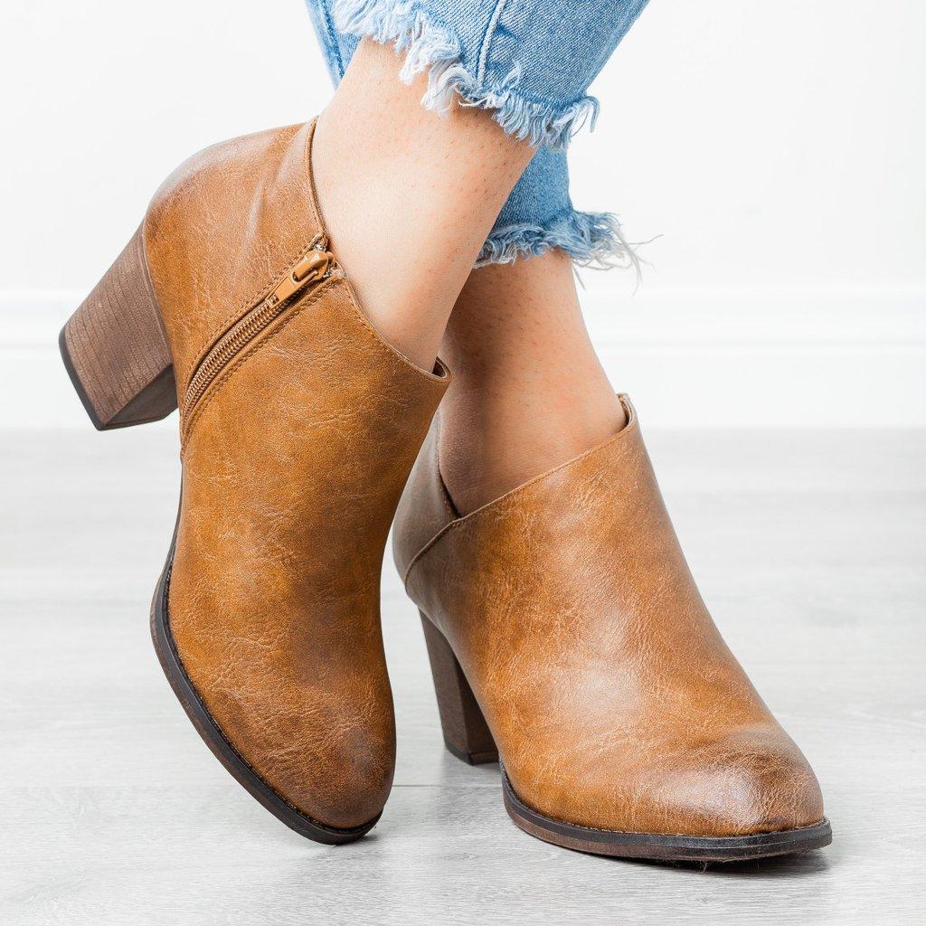 MoneRffi Pointed Toe Casual Ladies Fashion New Autumn Ankle Women Boots  Heel Slip On Women Female  Heels Single Shoes