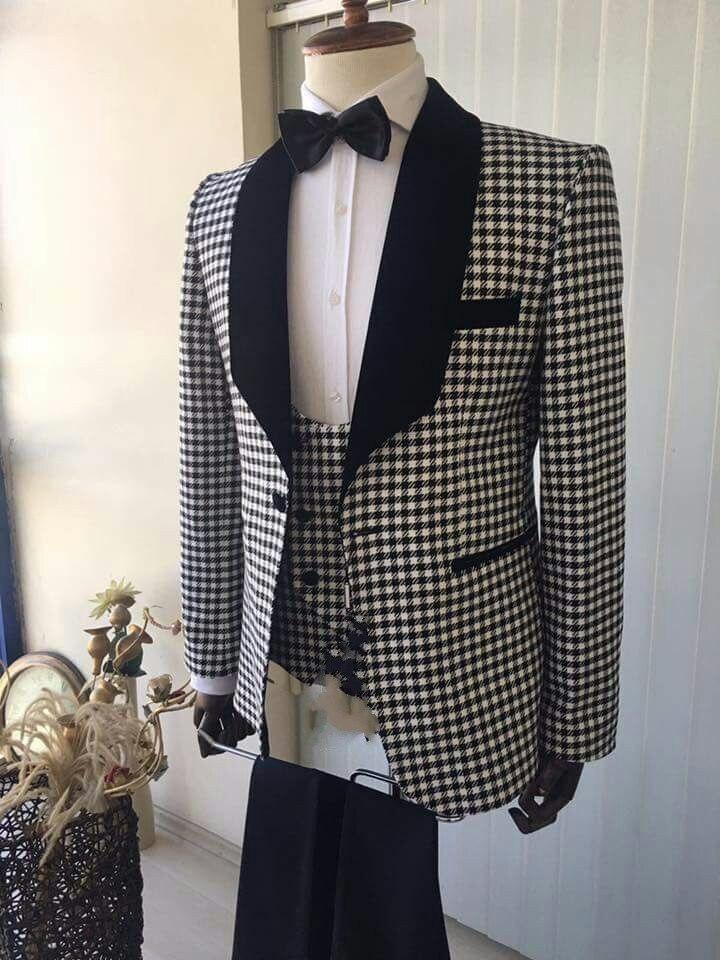 Mode Style Chequer marié Tuxedos hommes mariage Blazer robe de bal costumes d'affaires (veste + pantalon + gilet + cravate) K: 585