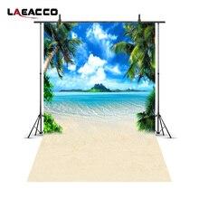 Laeacco облачно Blue Sky Sea Island Beach Palm Tree фотографии Фоны Винил Custom фотографические фонов для Аксессуары для фотостудий