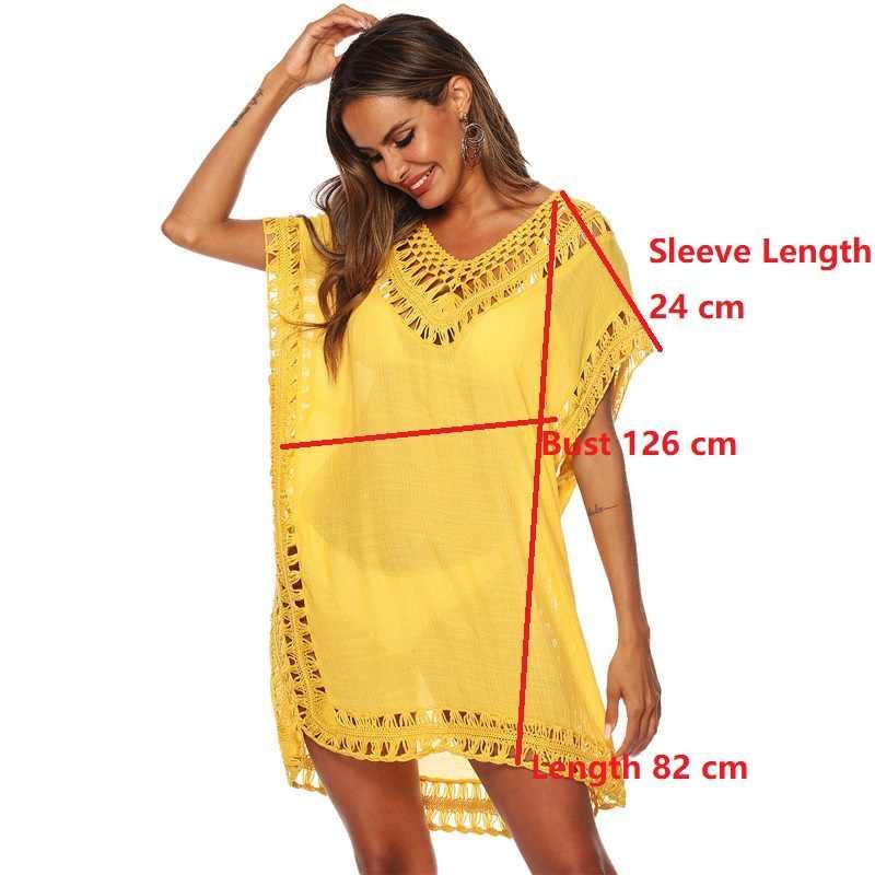 Áo Thun Bãi Biển Đầm Trắng Bao Che Cho Nữ Voan Đen Pareos Váy 2020 Nữ Đi Biển Mặc 2019 Bộ Đồ Bơi Bikini Bao -Lên