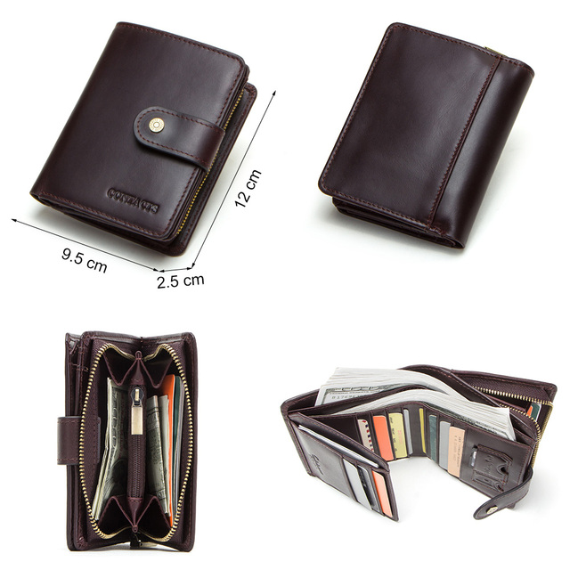 CONTACT'S genuine leather RFID men's wallet short coin purse small hasp walet partmon male short wallets men high quality cuzdan 3