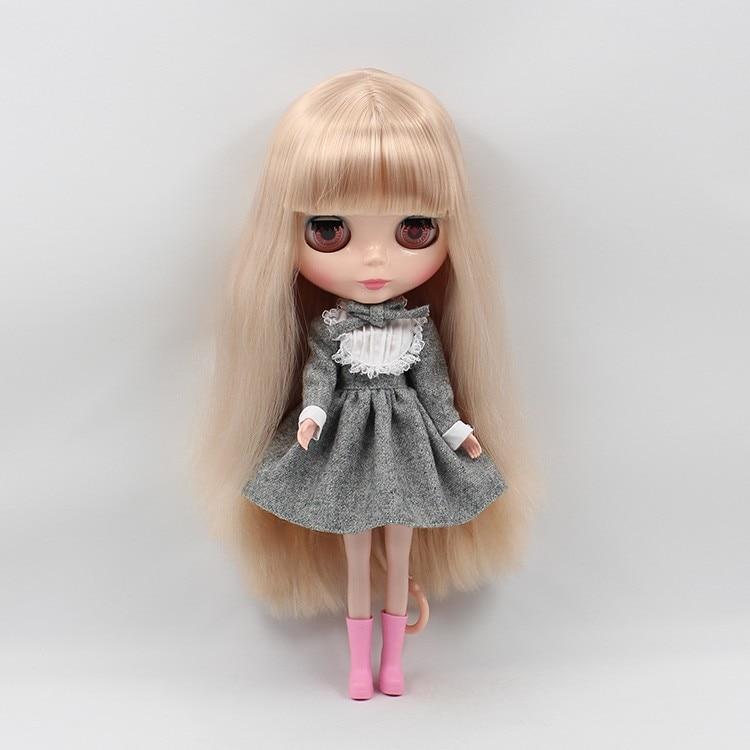 Neo Blythe Doll Warm Grey Lace Dress with Bow 5
