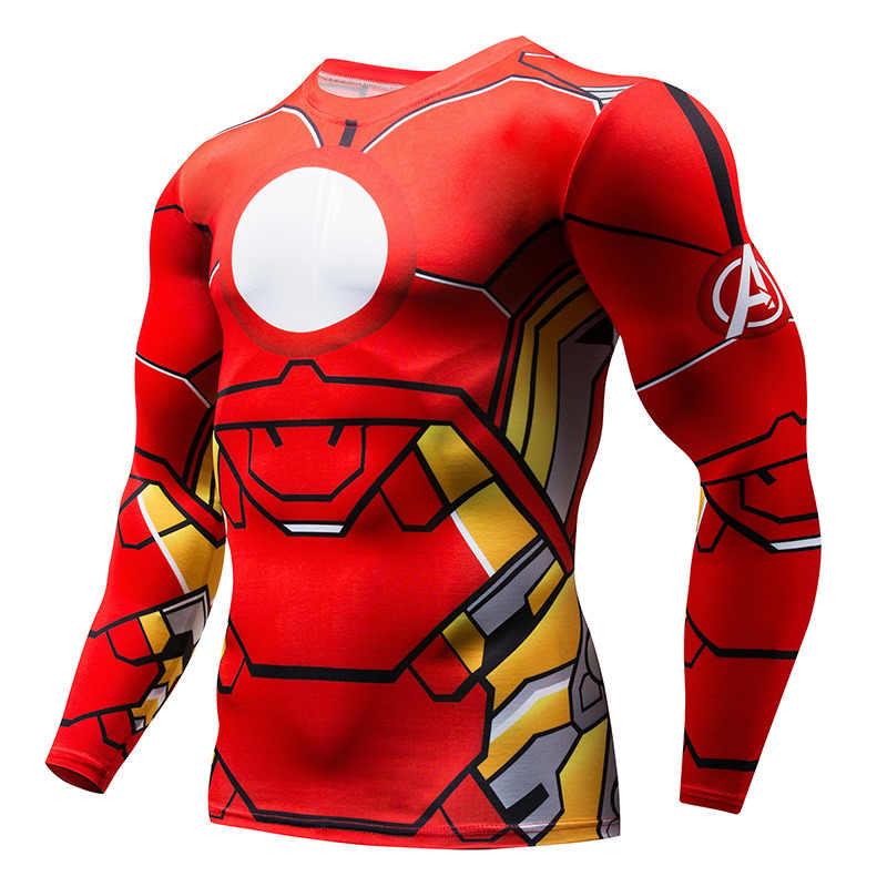 2019 jesień zima Superhero Superman/Batman/Spiderman mężczyźni z długim rękawem T Shirt rajstopy uciskowe topy T-shirt