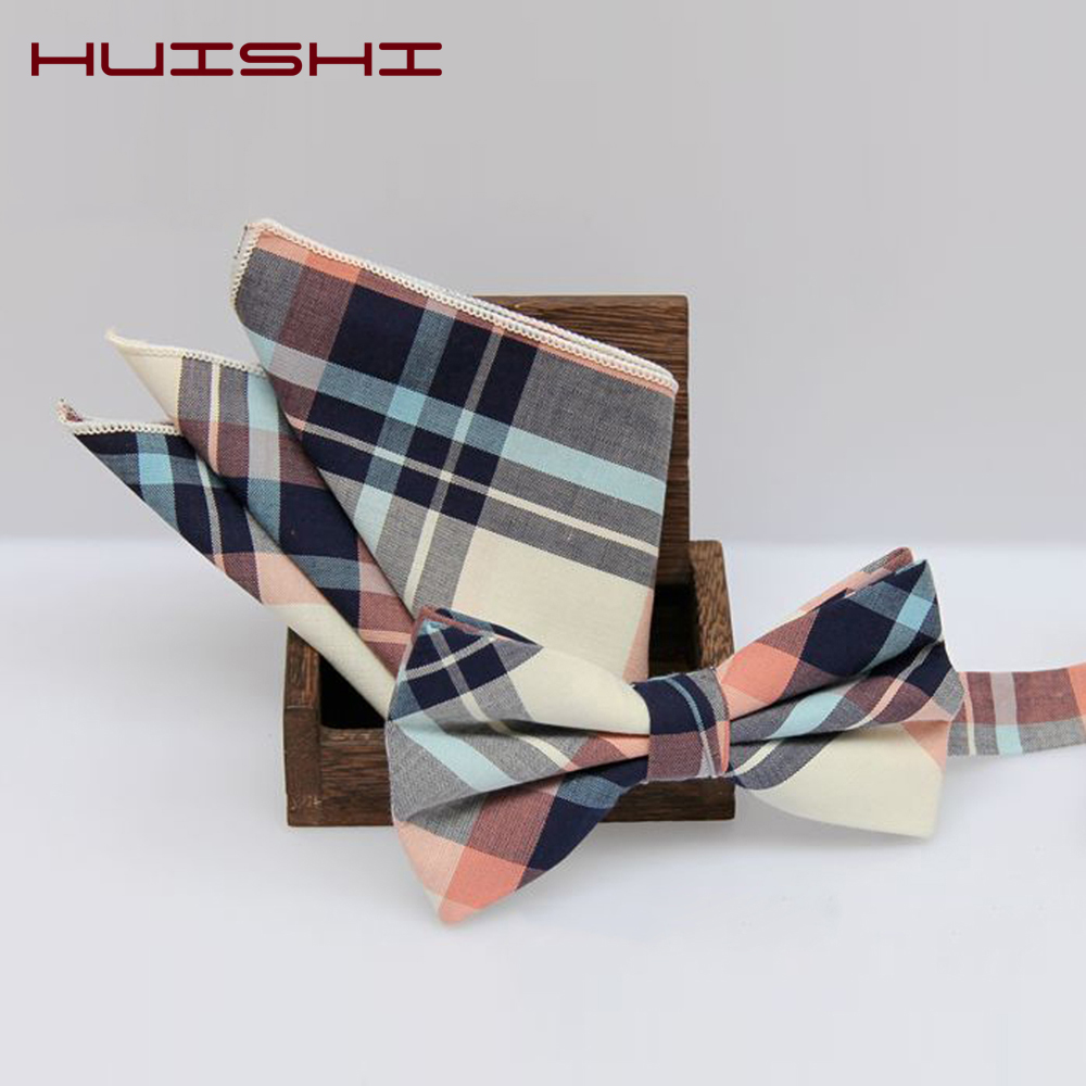 HUISHI New Design 14 Color Check Cotton Hanky Bow Tie Set Cotton Print Men BowTie Pocket Square Handkerchief Suit Wedding Part