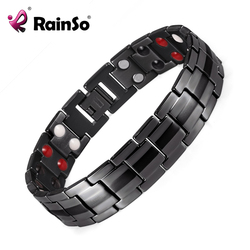 Rainso Men Stainless Steel Double Row FIR,Negative ion, Germanium and Magnetic Elements Black Bangle Bio Bracelet  OSB-1537BK