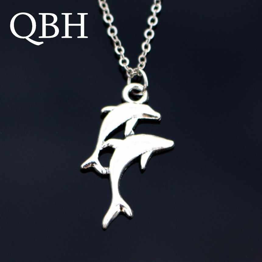 NK818 Punk Collier Collares Men Clavicle Vintage Silver Plated Double Dolphin Chain Pendant Necklace For Women Jewelry gift