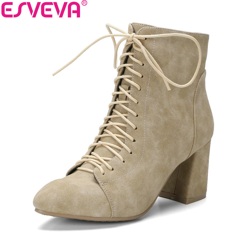ESVEVA 2018 Women Boots Handmade Cross-tied Square High Heel Warm Fur Ankle Boots Slim Look Pointed Toe Boots Women Size 34-42 esveva 2018 women boots lining short plush chunky square high heel ankle boots slim look pointed toe ladies boots size 34 43
