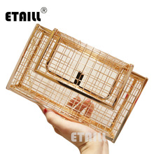 ETAILL Fashion New Hollow Metal Women Evening Bag Black Silver Box Clutch Bag Luxury Party Purse Banquet Gold Chain Shoulder bag luxury handbag evening bag diamond flower hollow clutch designer bag box relief acrylic banquet party purse women shoulder bags