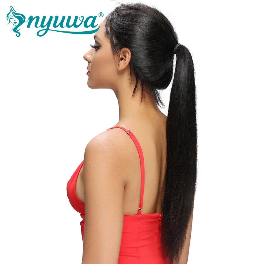 NYUWA прямые Синтетические волосы на кружеве человеческих волос парики предварительно сорвал с волосы младенца Glueless Синтетические волосы на кружеве парики отбеленные узлы бразильский Волосы remy