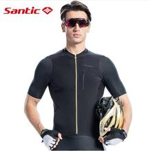Santic Men Cycling Short Sleeve Jersey Pro Fit Imported Italian Fabric Cuffs MTB Road Bike Pro Short Jersey Asia S-2XL M8C02132