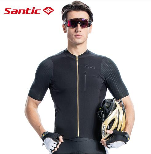 Santic Men Cycling Short Sleeve Jersey Pro Fit Imported Italian Fabric Cuffs MTB Road Bike Pro Short Jersey Asia S 2XL M8C02132