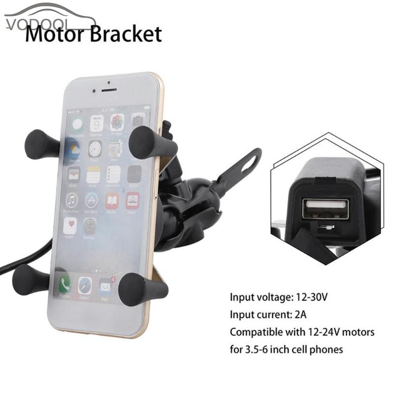 360 Rotating Motorcycle Handlebar Mount Mobile Phone Holder USB Charging Bracket Bicycle Moto Handle Grip Support Accessories sx 005 360 degree rotating vehicle general magnetic phone mount holder