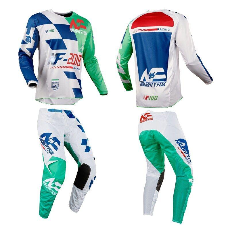 Livraison gratuite 2019 vilain renard vert Motocross Jersey et pantalon Combos ATV DH MX Moto costume Dirt Bike vélo cyclisme costume