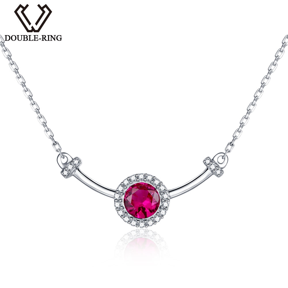 DOUBLE-R Basic Created Purple Ruby Necklaces Strong 925 Sterling Silver Pendant necklaces Gemstone Advantageous Model Jewellery Necklaces, Low cost Necklaces, DOUBLE R Basic Created Purple Ruby Necklaces Strong 925...