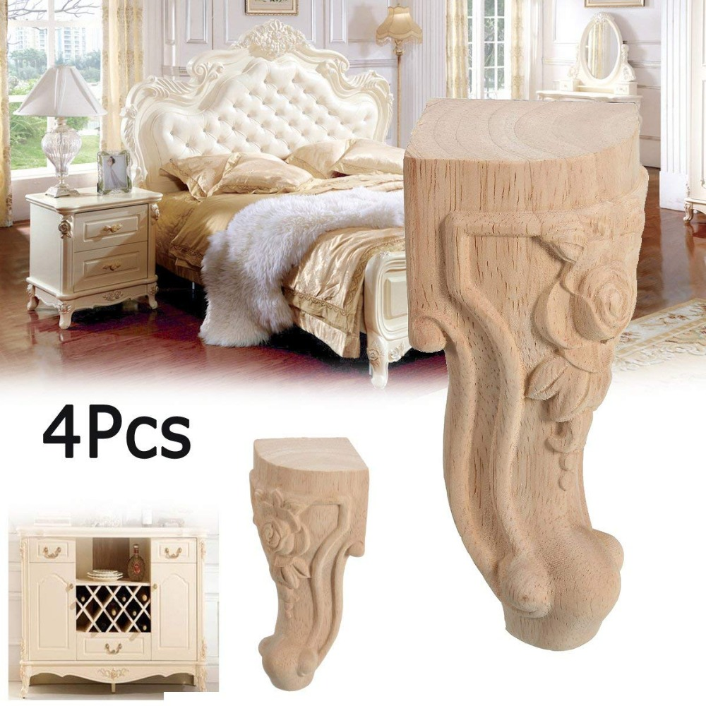 4PCS 6.5x15cm Solid Wood Furniture Legs Feet Replacement Sofa Couch Chair Table Cabinet Furniture Carving Furniture Legs4PCS 6.5x15cm Solid Wood Furniture Legs Feet Replacement Sofa Couch Chair Table Cabinet Furniture Carving Furniture Legs