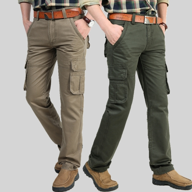 2016 Marca Para Hombre Pantalones de Carga Militares multi-bolsillos Holgados Pantalones De Los Hombres Pantalones Casuales Fresco Overoles Pantalones Militares