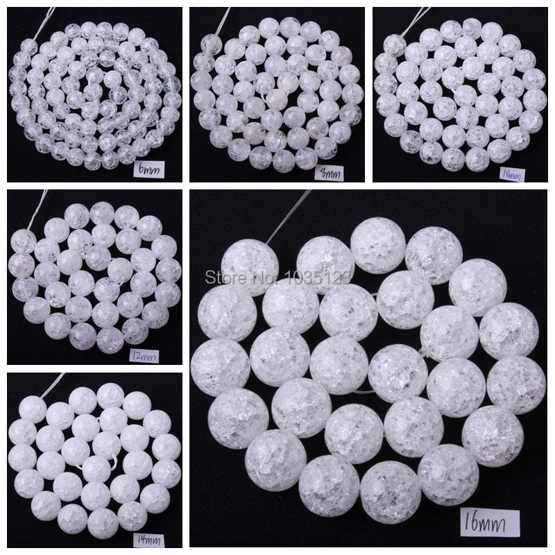 Free Shipping 4.6.8.10.12.14.16mm Pretty Natural Cracked Round Rock Crystal Quartz Loose Beads Strand 15 Jewellery Making wj68