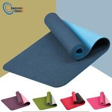 183*61 см 6 мм толстый двухцветный нескользящий TPE коврик для йоги качественный Спортивный Коврик для занятий спортом для фитнеса, тренажерного зала, дома, безвкусный коврик