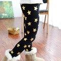 2015 nova além de veludo dourado estrela impressão calças quentes meninas de inverno leggings quente crianças calças cintura elástica calças criança