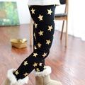 2015 nuevo más el terciopelo golden star printing pantalones calientes las muchachas de invierno cálido pantalones de los niños pantalones de cintura elástica kid
