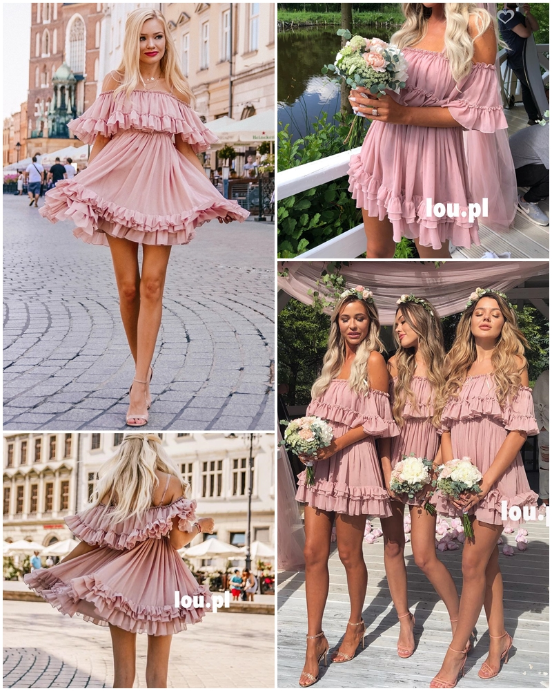 Affogatoo Elegant ruffle off shoulder strap summer pink dress women Casual chiffon pleated blue dress Loose holiday short dress 2