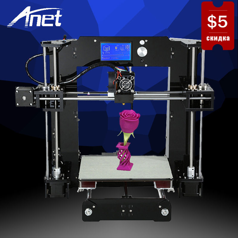 купить Prusa i3 Reprap DIY 3D Printer Anet A6 Model High Precision Easy Assembly LCD Screen Aluminum Hotbed 16GB SD Card High Quality недорого