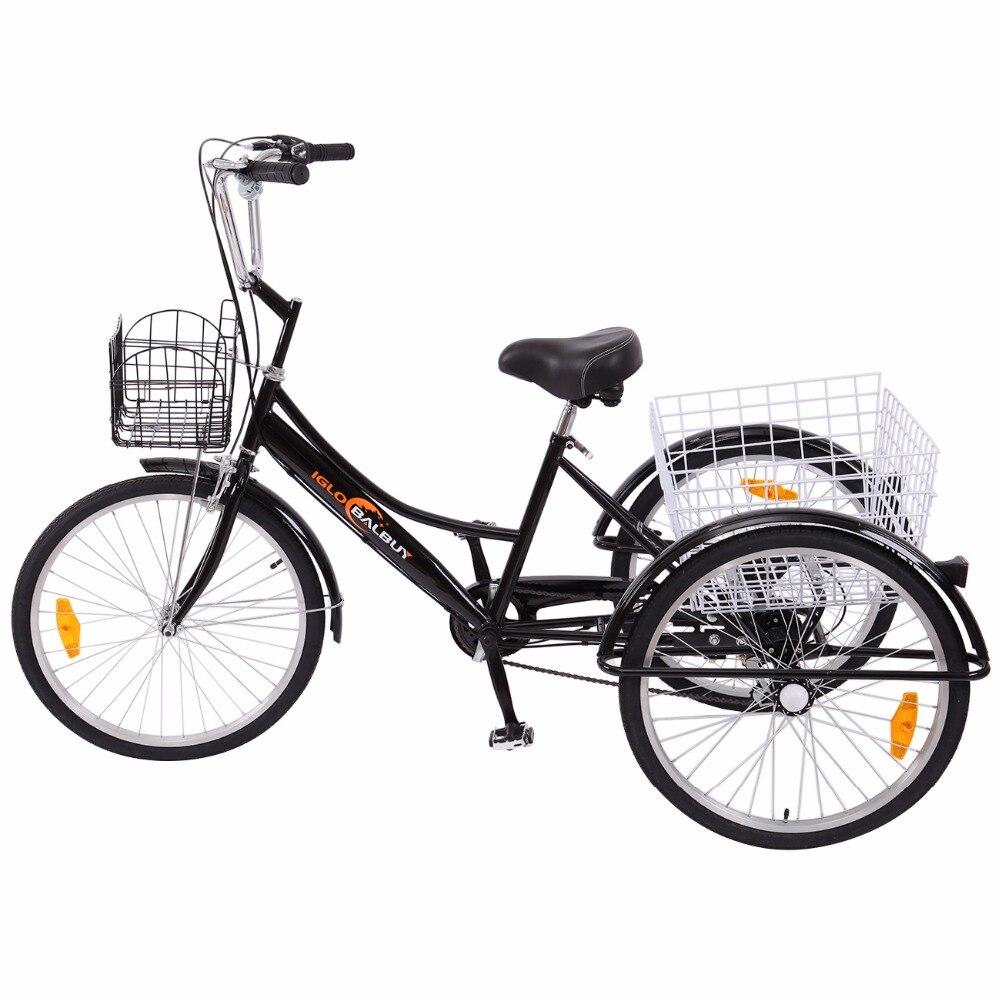 """""""(Доставка из de ) черный 24 """"""""велосипед трехколесный велосипед 3 колеса, 6 передач с 2 корзинами для взрослых Супермаркет"""""""